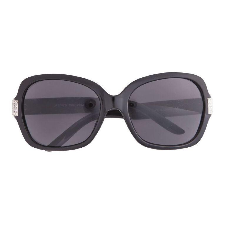 Beach Works Women's Tortoise Diamante Sunglasses, Black, hi-res
