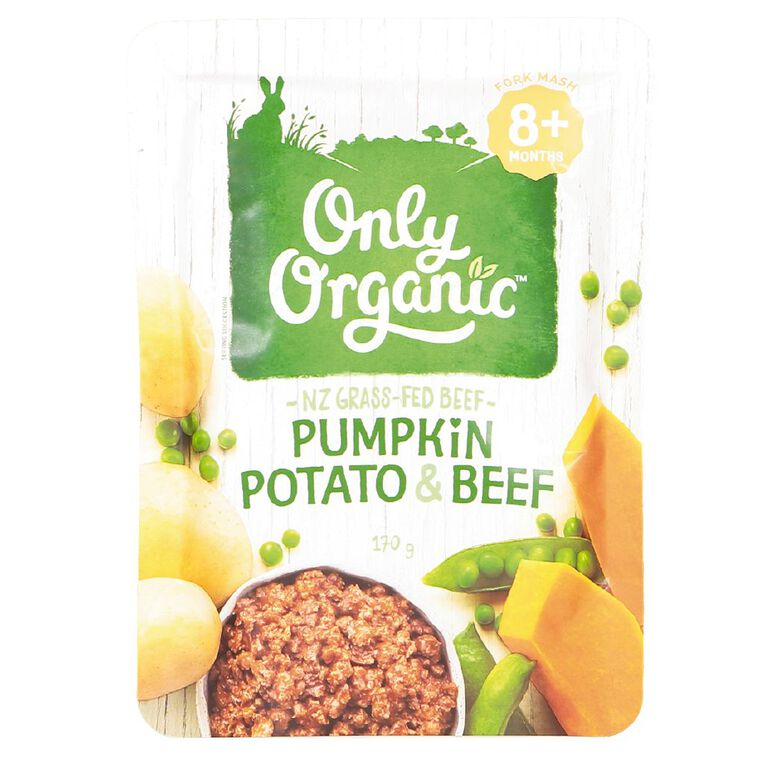 Only Organic Pumpkin Potato and Beef Pouch 170g, , hi-res