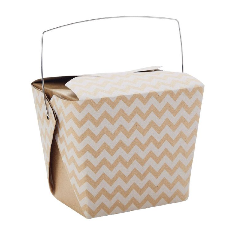 Artwrap Noodle Box Kraft White Chevron 4 Pack, , hi-res