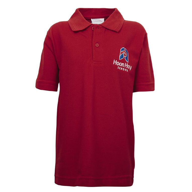 Schooltex Hoon Hay Short Sleeve Polo with Embroidery, Red, hi-res