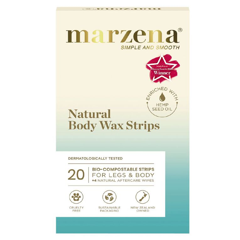 Marzena Bodycare Natural Body Wax Strips 20 Pack, , hi-res