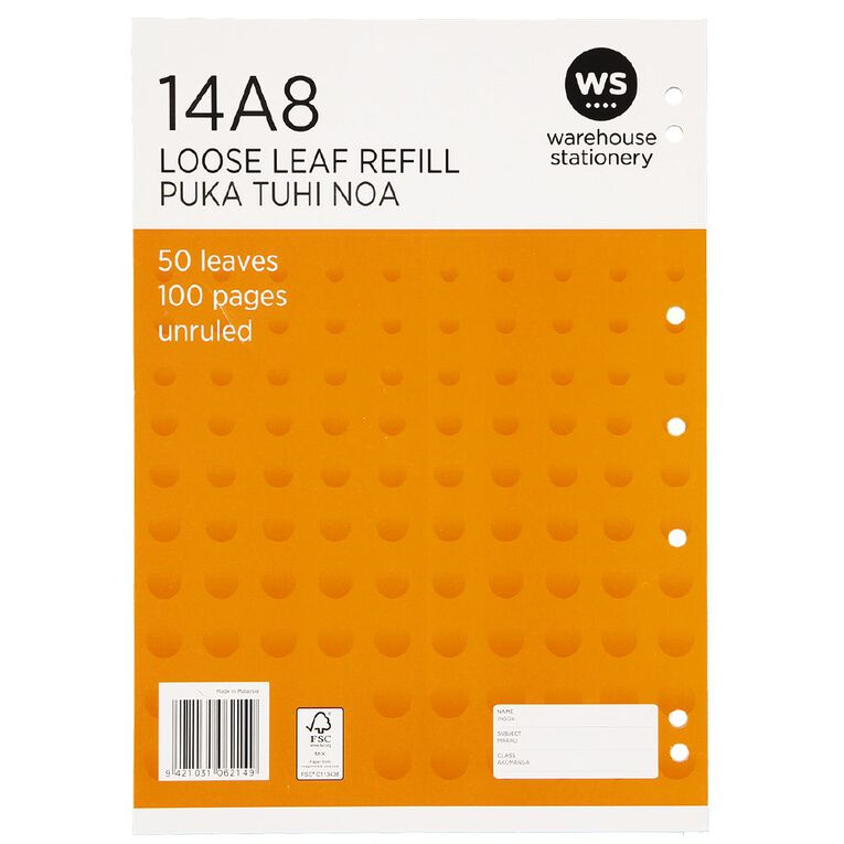 WS Pad Refill 14A8 Blank 50 Leaf Punched Orange, , hi-res