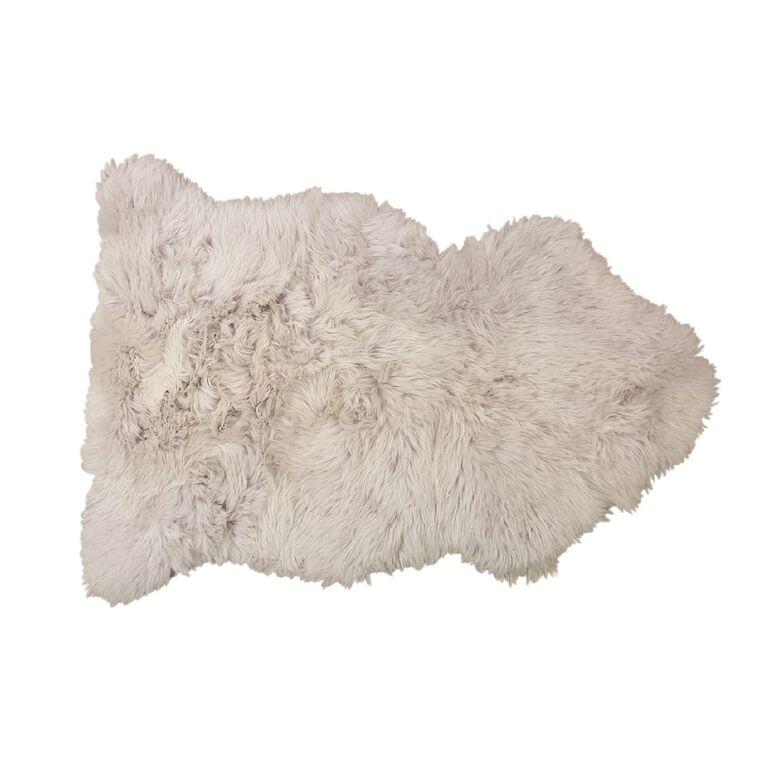 Living & Co Genuine Sheep Skin Rug Grey 60cm x 90cm, Grey, hi-res
