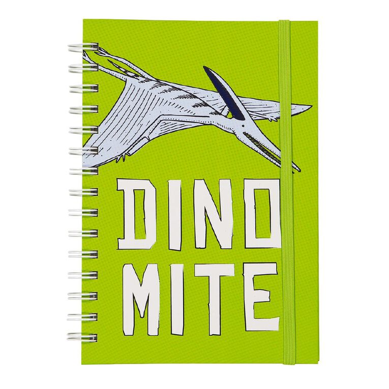 Kookie Chomp Dinomite Hardcover Spiral Notebook Green A5, , hi-res