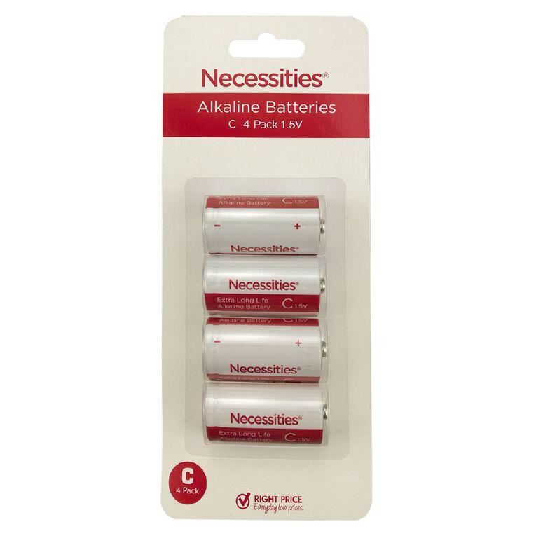 Necessities Brand Alkaline Batteries LR14 C 4 Pack, , hi-res