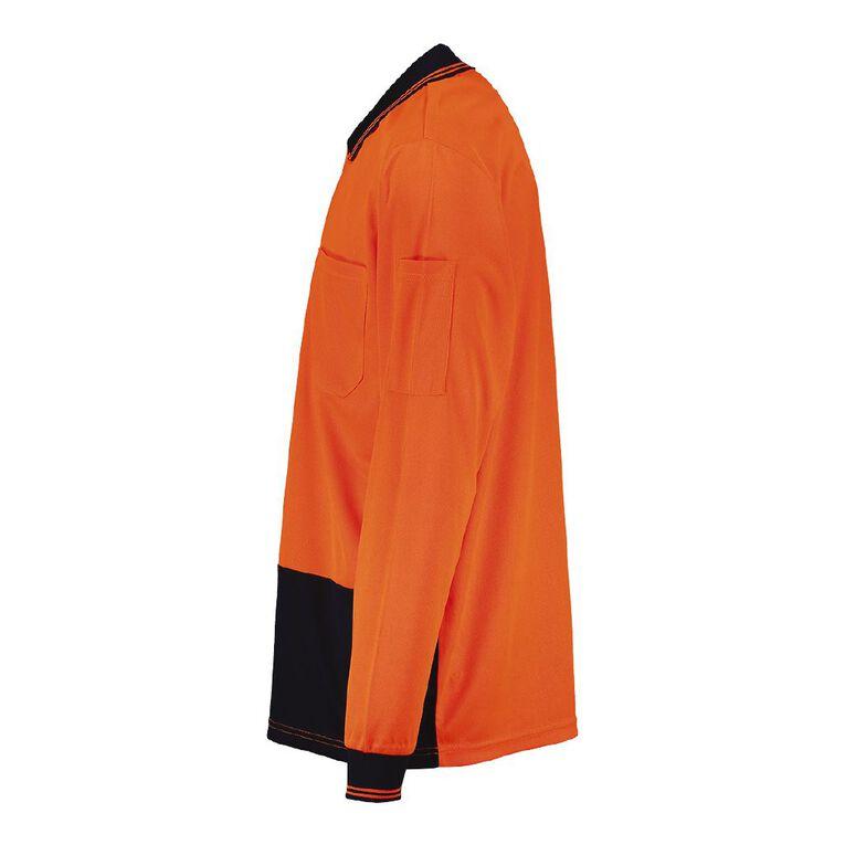 Rivet Long Sleeve Compliant Polo, Orange/Fluro, hi-res