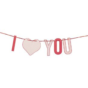Party Inc I LOVE YOU Banner Multi-Coloured 3m
