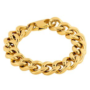 Stainless Steel Yellow Gold Plated Chunky Curb Bracelet 20cm