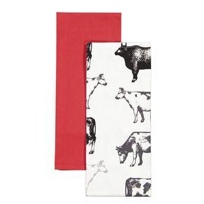 Living & Co Tea Towel Cow 2 Pack 50cm x 70cm