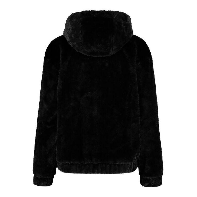 H&H Women's Fur Hooded Jacket, Black, hi-res