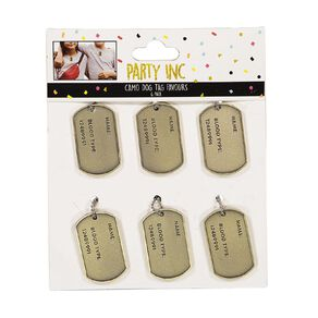 Party Inc Camo Dog Tag Party Favours 6 Pack