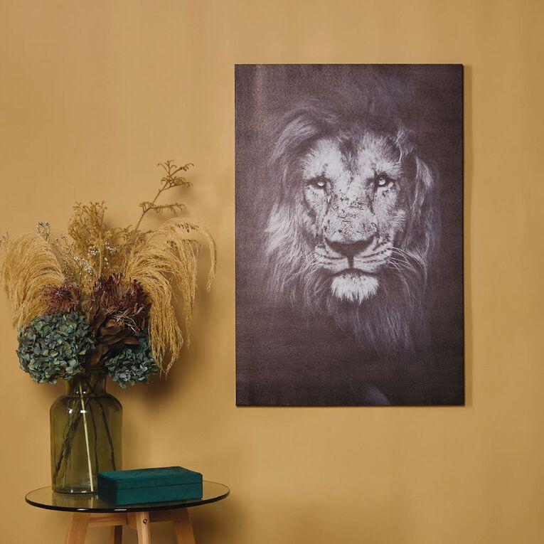 Living & Co Fierce Lion Canvas Black/White 60cm x 90cm, , hi-res