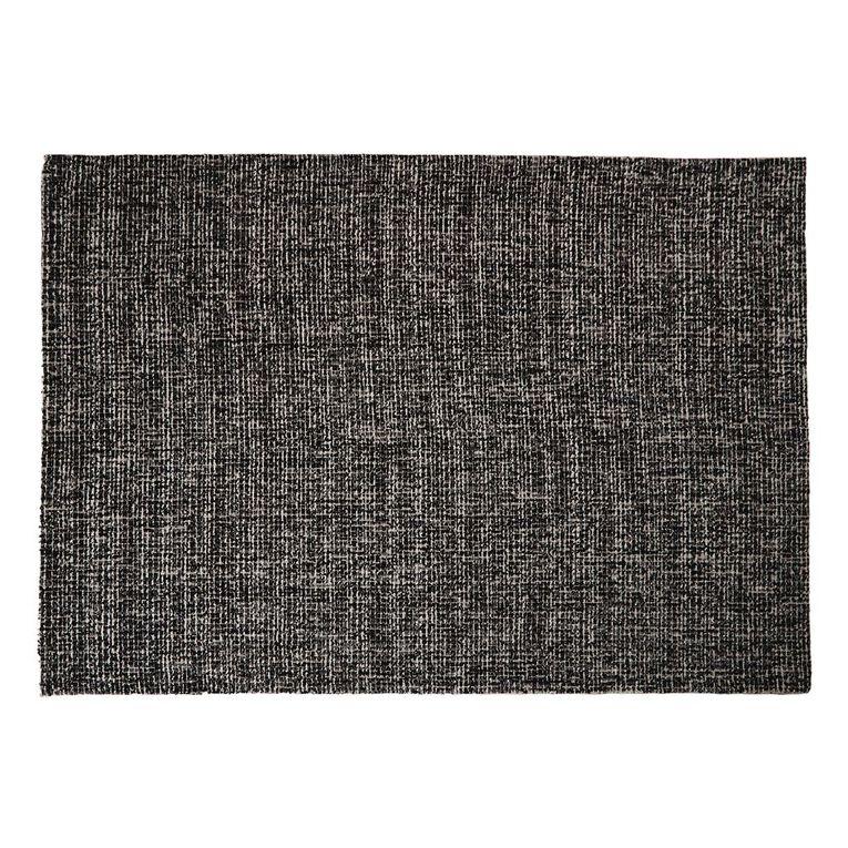 Living & Co Grey Slub Area Rug Charcoal 160cm x 230cm, Charcoal, hi-res