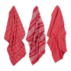 Living & Co Aria Tea Towel Set 3 Pack Red 40cm x 65cm