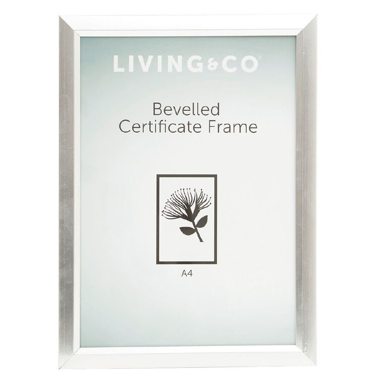 Living & Co Frame Certificate Bevelled Silver A4, Silver, hi-res