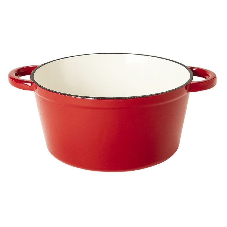 Living & Co Cast Iron Casserole Round Red 4L, , hi-res