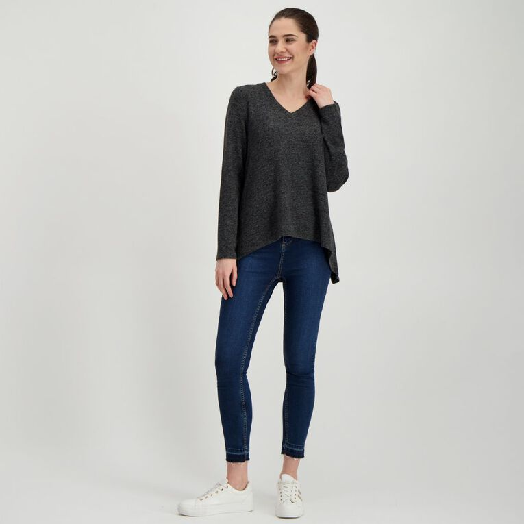 H&H Women's Long Sleeve Brushed Knit Swing Top, Charcoal/Marle, hi-res