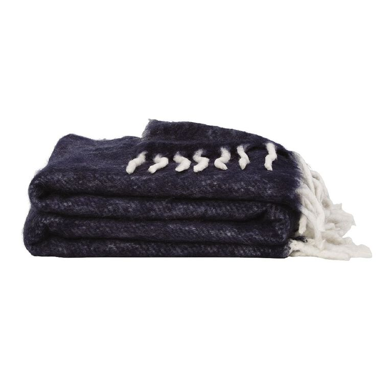 Living & Co Raised Wool Mix Throw Blue 127cm x 152cm, Blue, hi-res