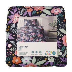 Living & Co Kids Comforter Set Floral Purple King Single