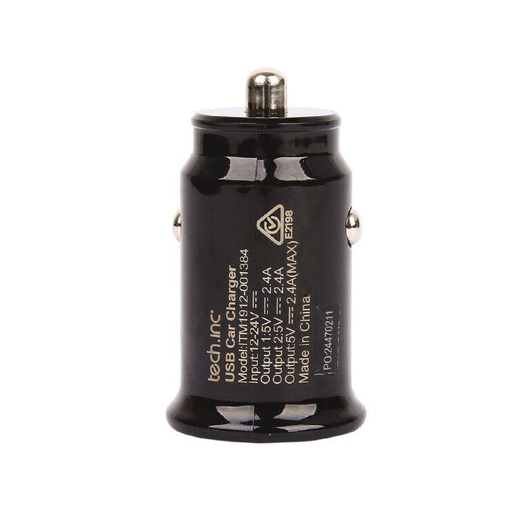 Tech.Inc Dual USB Car Charger 2.4A Black, , hi-res