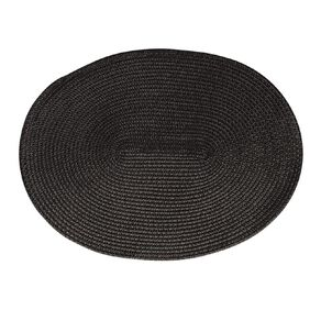 Living & Co Woven Placemat Oval 39.5cm x 29.5cm 2 Pack Black