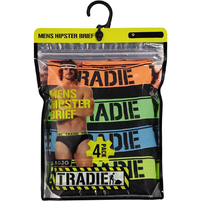 Tradie Men's Briefs 4 Pack, Black, hi-res