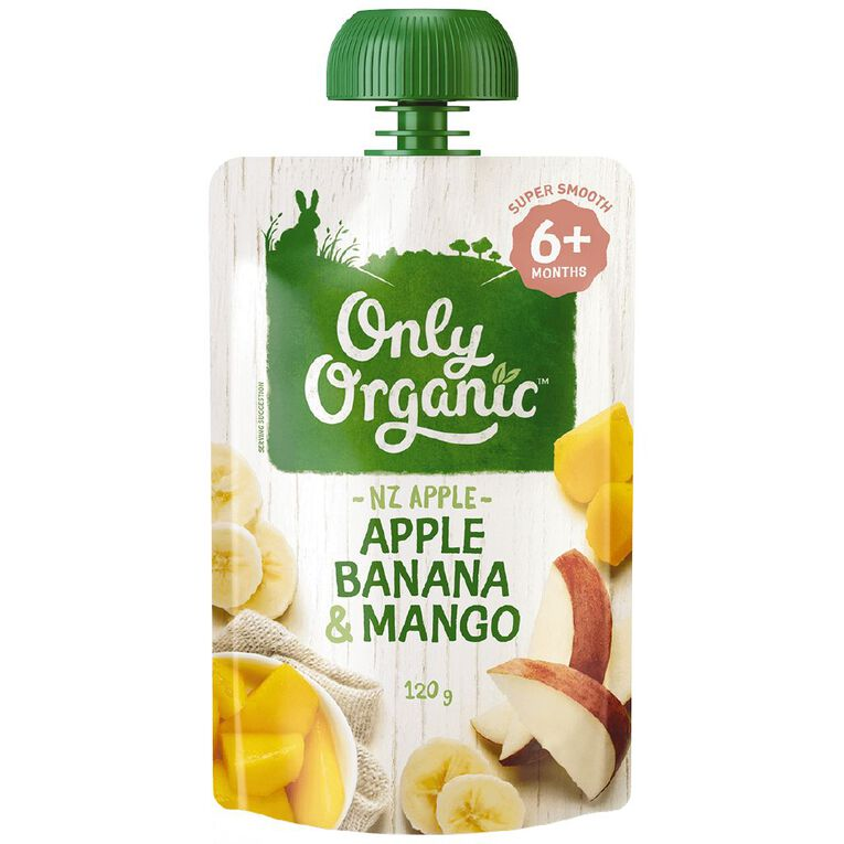 Only Organic Apple Banana & Mango 120g, , hi-res