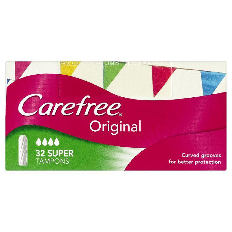 Carefree Super Tampons 32 Pack, , hi-res