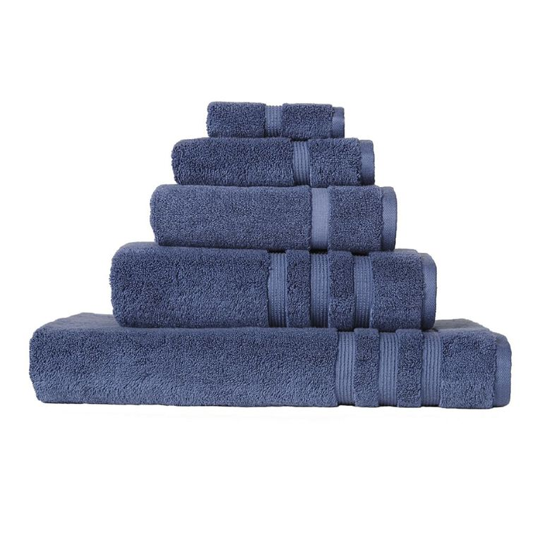 Living & Co Montreal Face Towel Blue 30cm x 30cm, Blue, hi-res
