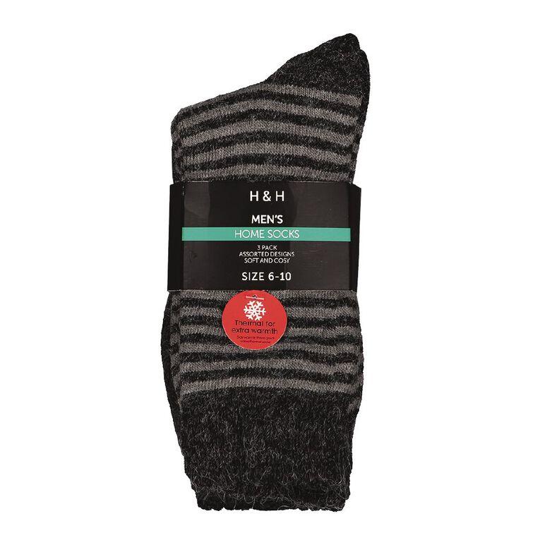 H&H Men's Home Socks 3 Pack, Black, hi-res image number null