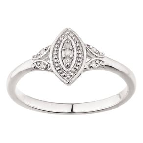 Sterling Silver Diamond Marquise Filigree Ring