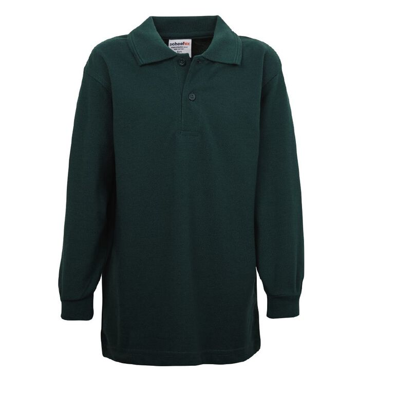 Schooltex Kids' Long Sleeve Polo, Bottle Green, hi-res