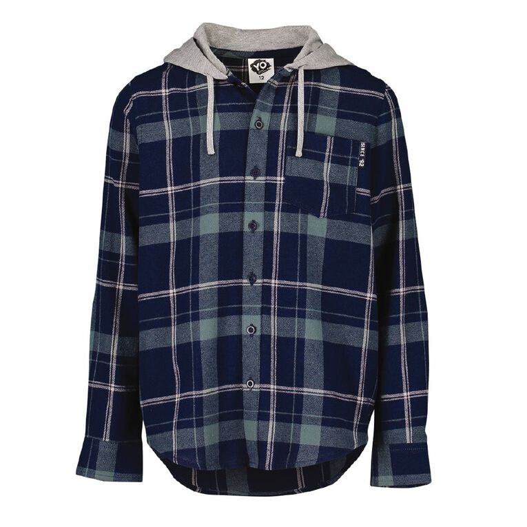 Young Original Long Sleeve Hooded Flannel Shirt, Navy, hi-res