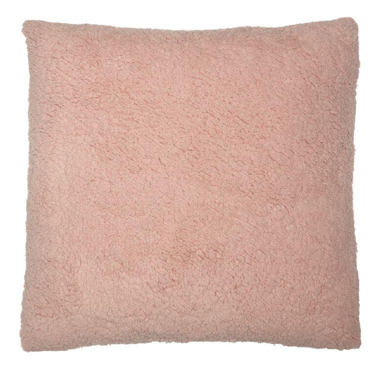 Living & Co Sherpa Cross Cushion Peach Whip Pink Light 50cm x 50cm, Pink Light, hi-res