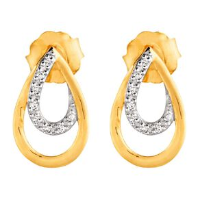 0.02 Carat Diamond 9ct Gold 4 Stud Earrings