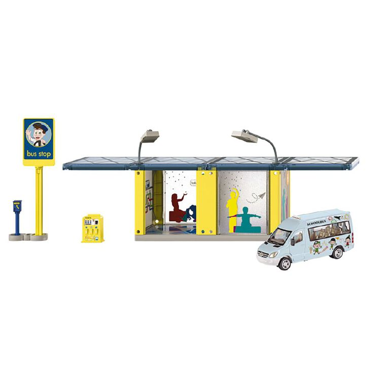 Siku 1:50 World Bus Stop with Mercedes Sprinter School Van, , hi-res