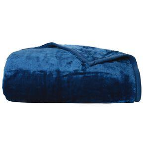 Living & Co Blanket Mink Feel 400gsm Moroccan Blue Queen