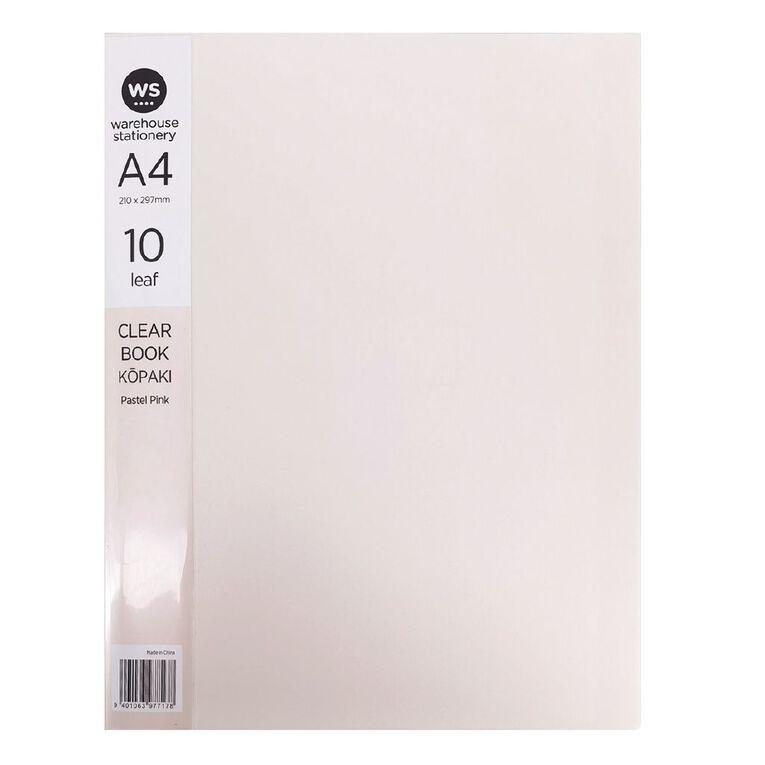 WS Clear Book 10 Leaf Pastel Pink A4, , hi-res