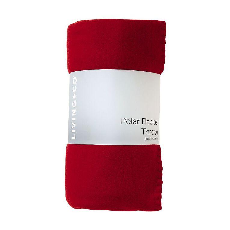 Living & Co Plain Polar Fleece Throw Red 127cm x 152cm, Red, hi-res