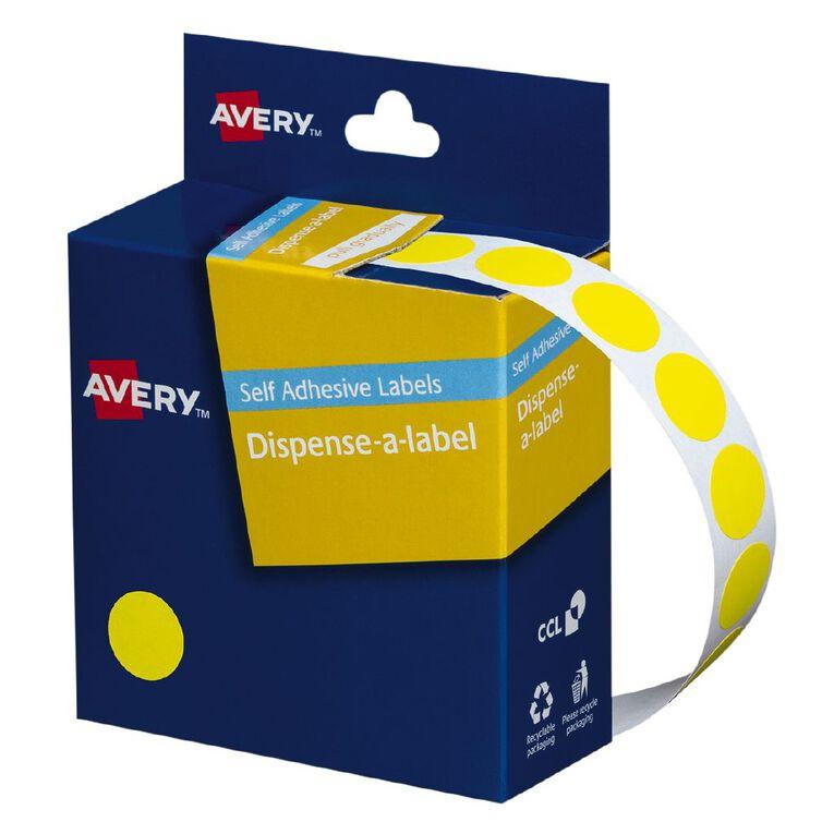 Avery Yellow Dispenser Dot Stickers 14mm diameter 1050 Labels, , hi-res
