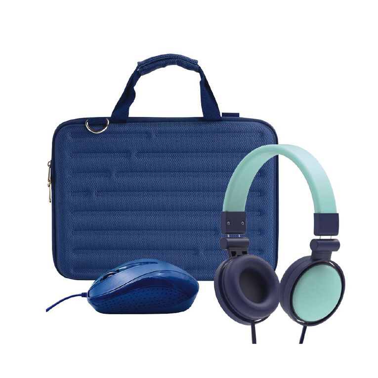 Tech.Inc 11inch Hard Shell Bundle with Mouse and Headphones Blue, , hi-res