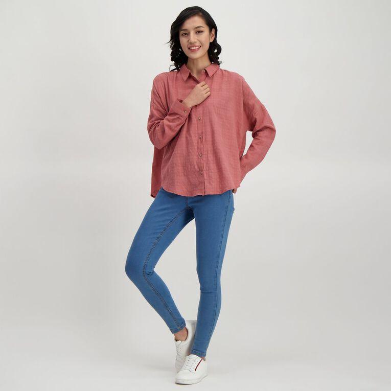 H&H Women's Textured Cotton Boyfriend Shirt, Brown Mid, hi-res