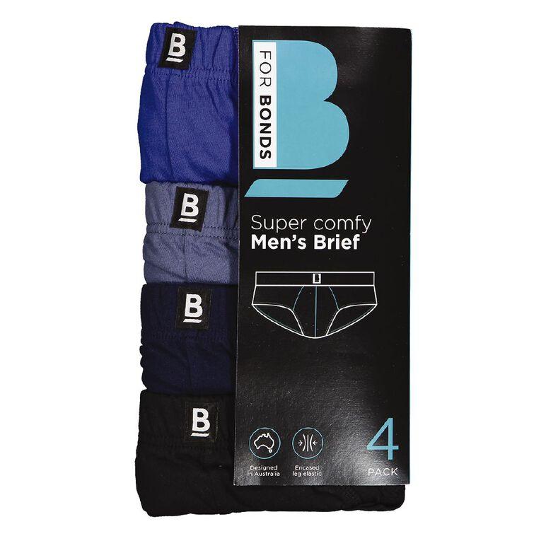 B FOR BONDS Men's Classic Briefs 4 Pack, Blue, hi-res