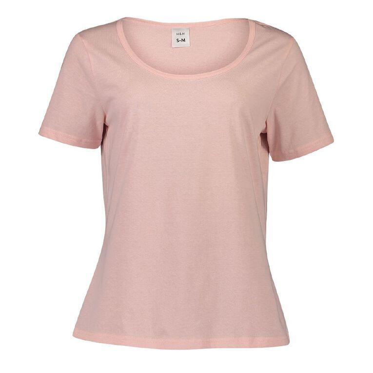 H&H Women's Short Sleeve Sleep Tee, Pink, hi-res