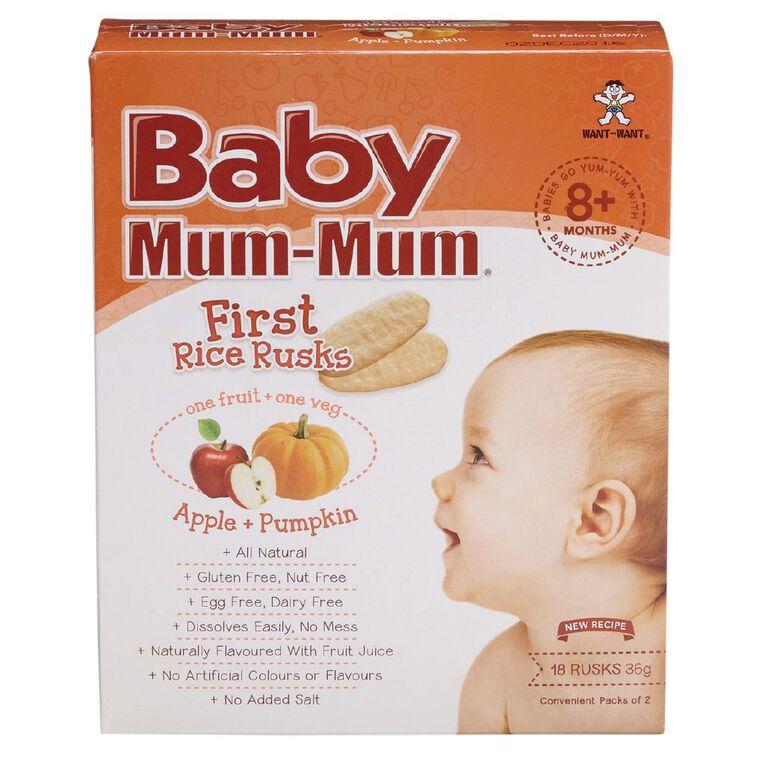 Baby Mum-mum Rice Rusks Apple and Pumpkin Flavour 36g, , hi-res