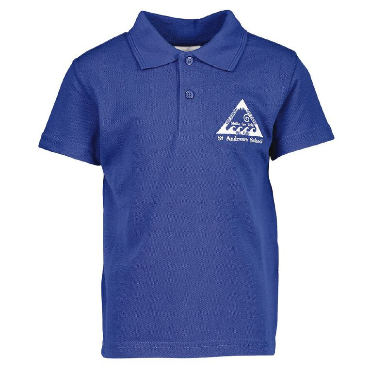 Schooltex St Andrews Timaru Short Sleeve Polo with Embroidery, Royal, hi-res
