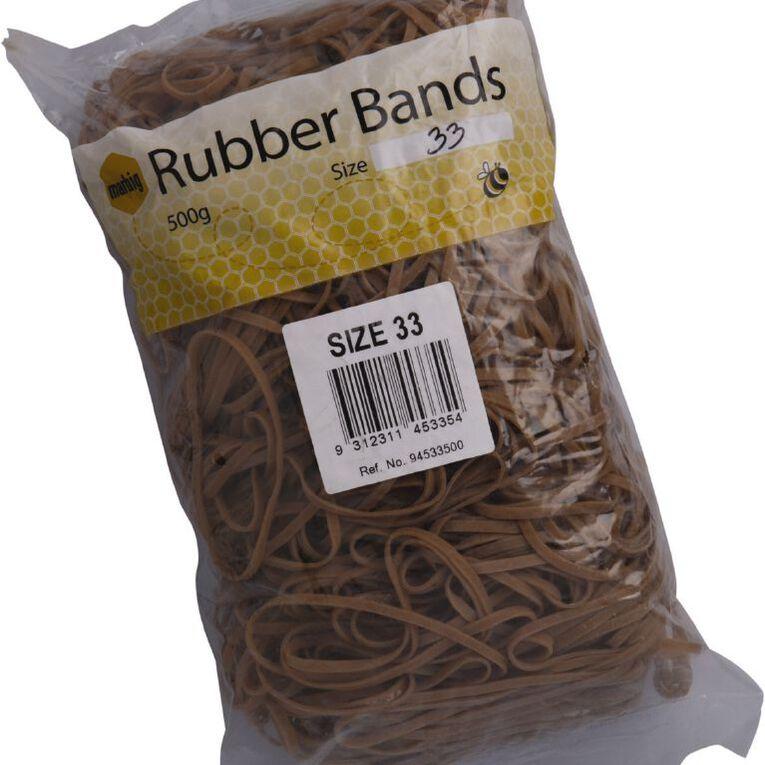 Marbig Rubber Bands 500g #33 Brown, , hi-res