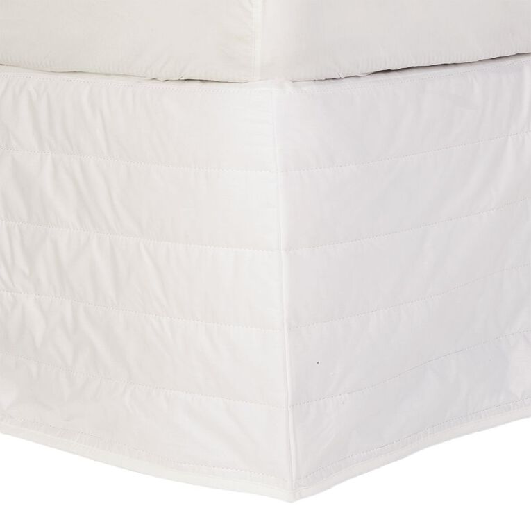 Living & Co Valance Quilted Cotton Optical White Queen, White, hi-res