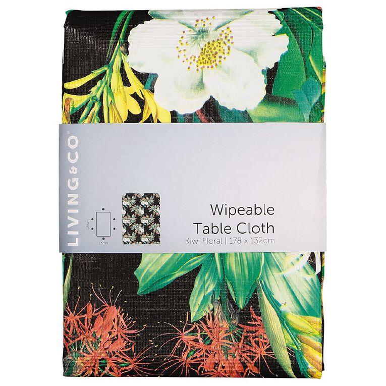 Living & Co Table Cloth Plastic Kiwi Floral 178cm x 132cm, , hi-res