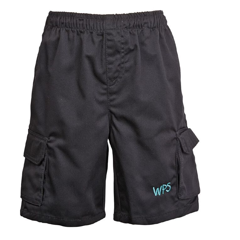 Schooltex Waipu Drill Cargo Shorts with Embroidery, Black, hi-res